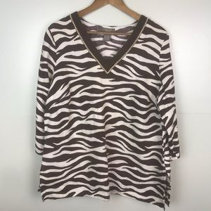 KENAR Linen Brown Zebra Print Wood Beads V-Neck